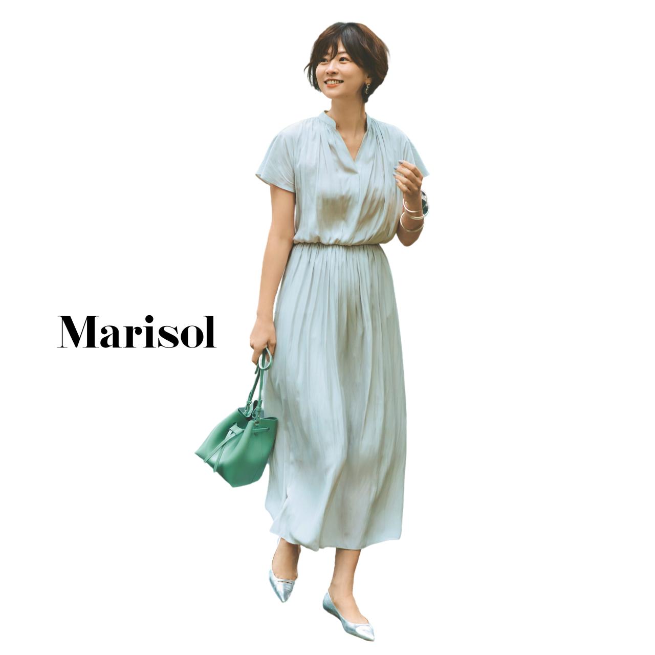 40代ファッション とろみシャーリングワンピースコーデ