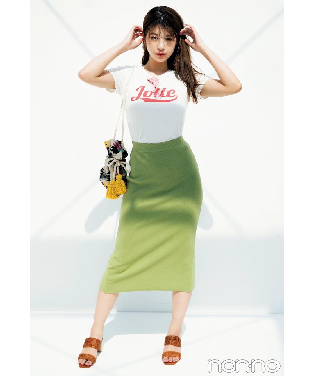 dazzlinのロゴTシャツで女っぽコーデ♡馬場ふみかが5通りに着回し!_1_3-2