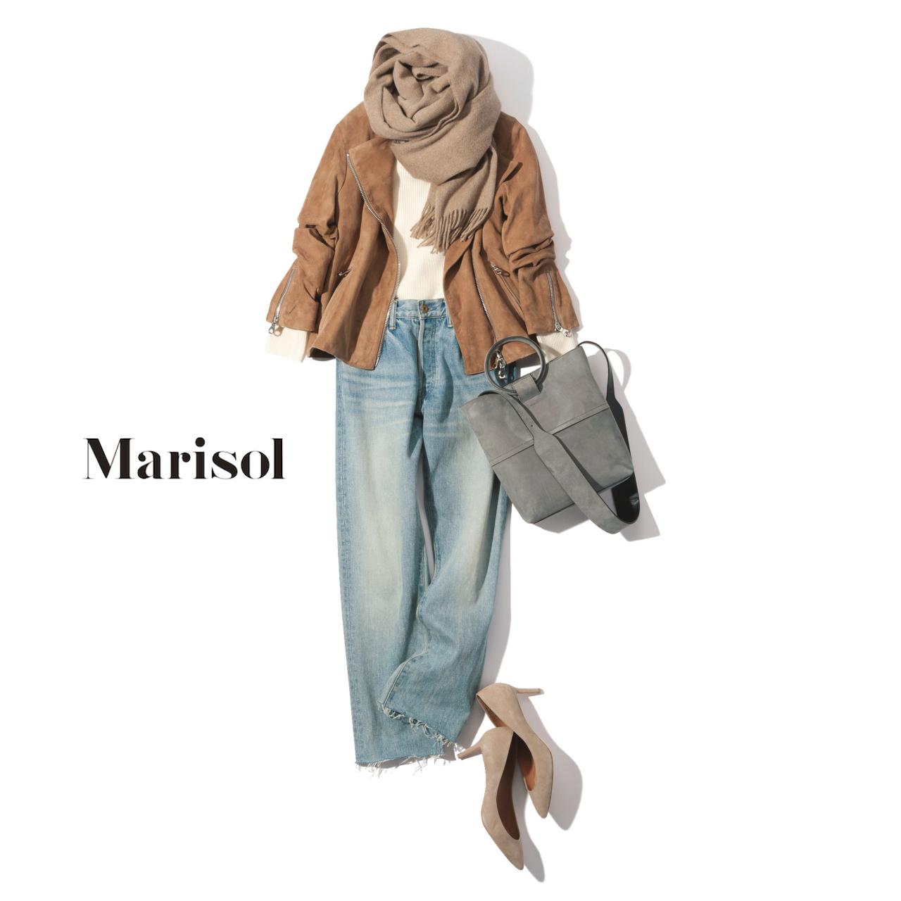40代ファッション 淡色ジャケット×ヴィンテージウォッシュデニムパンツコーデ