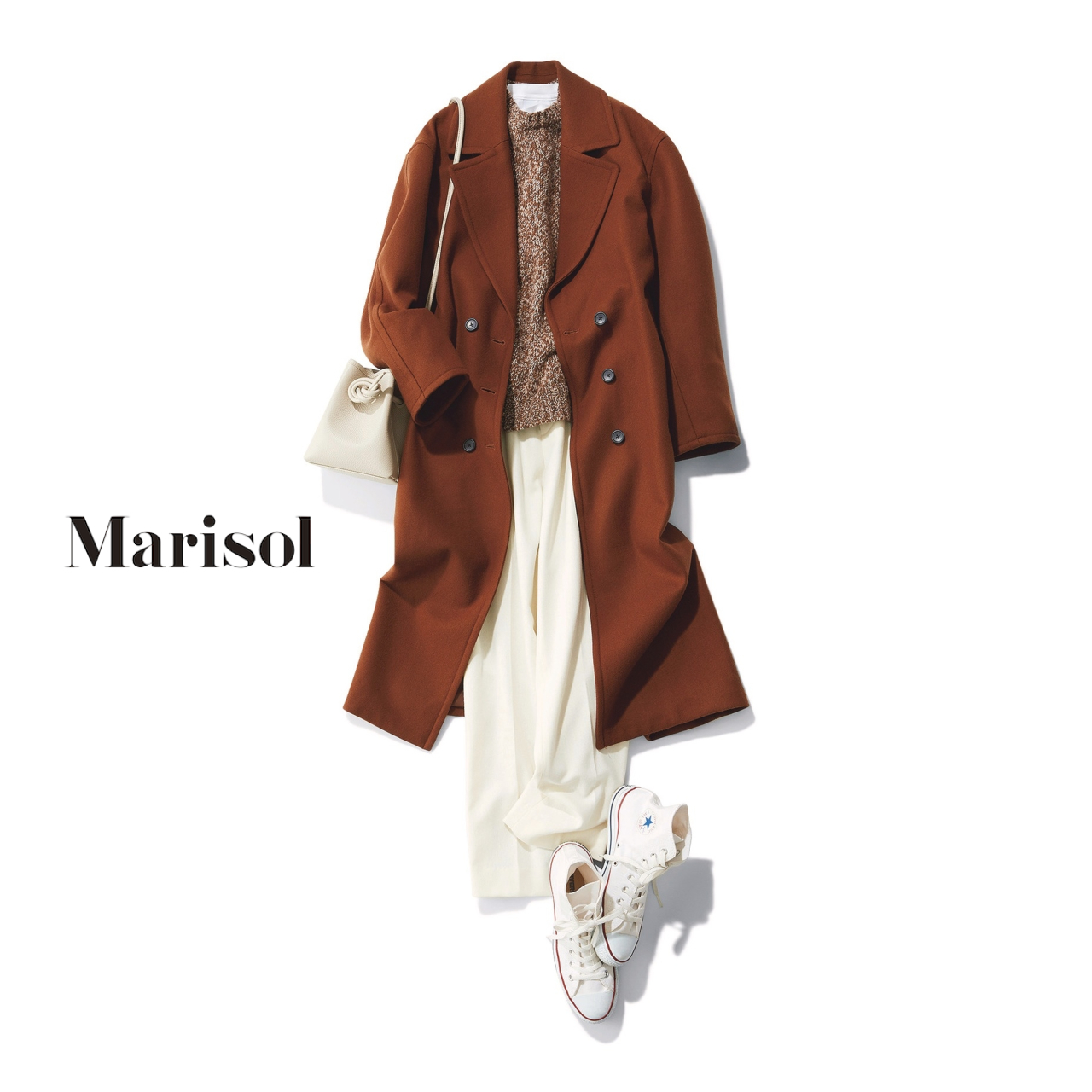 40代ファッション ブラウンコート×ニット×白パンツ×スニーカーコーデ