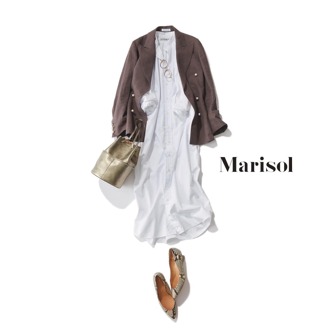 ファッション ブラウンジャケット×白シャツワンピースコーデ