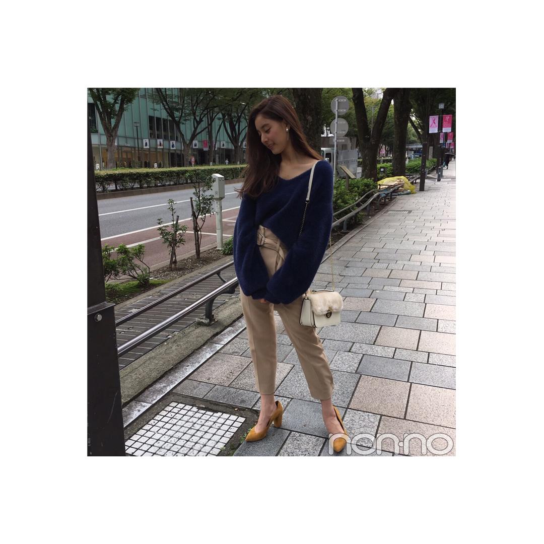 新木優子は美脚パンツでゆるニットをきれいめに【毎日コーデ】_1_1