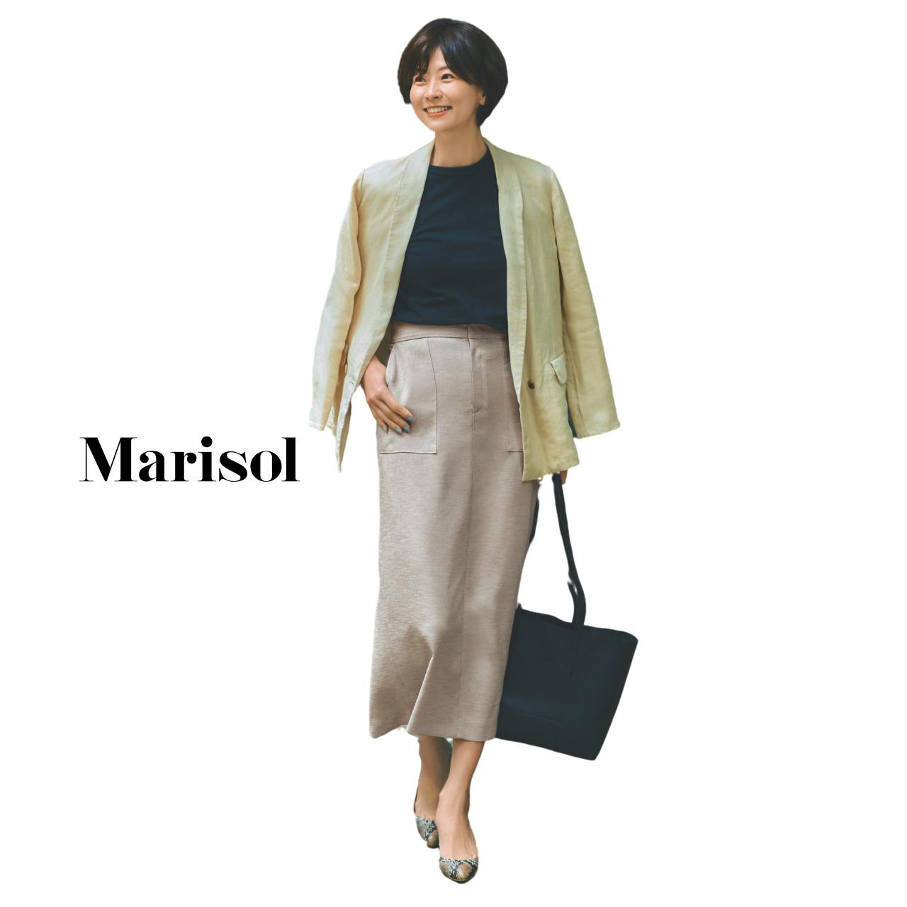40代ファッション カットソー×タイトスカート×ジャケットコーデ