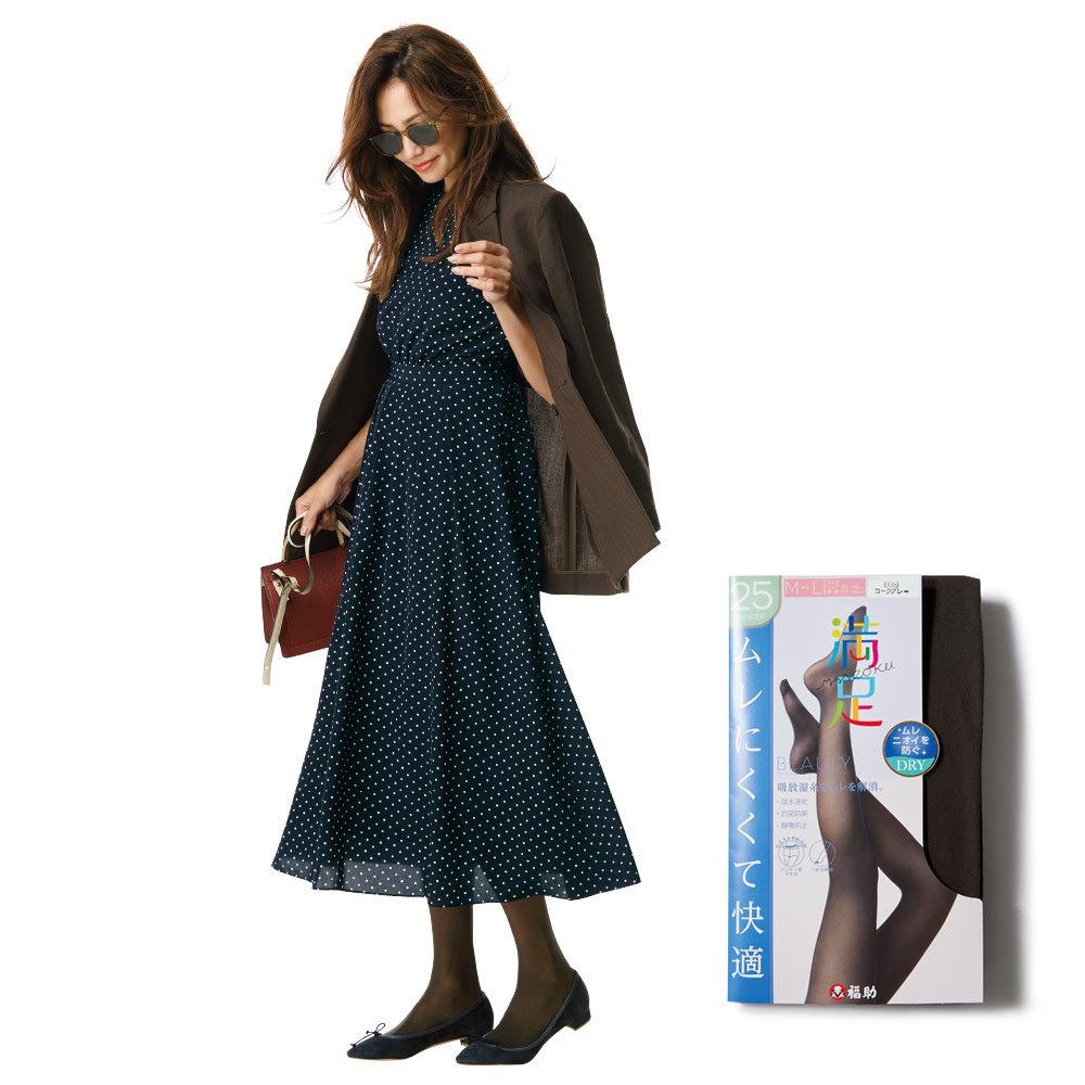 ドット柄ワンピースのファッションコーデ