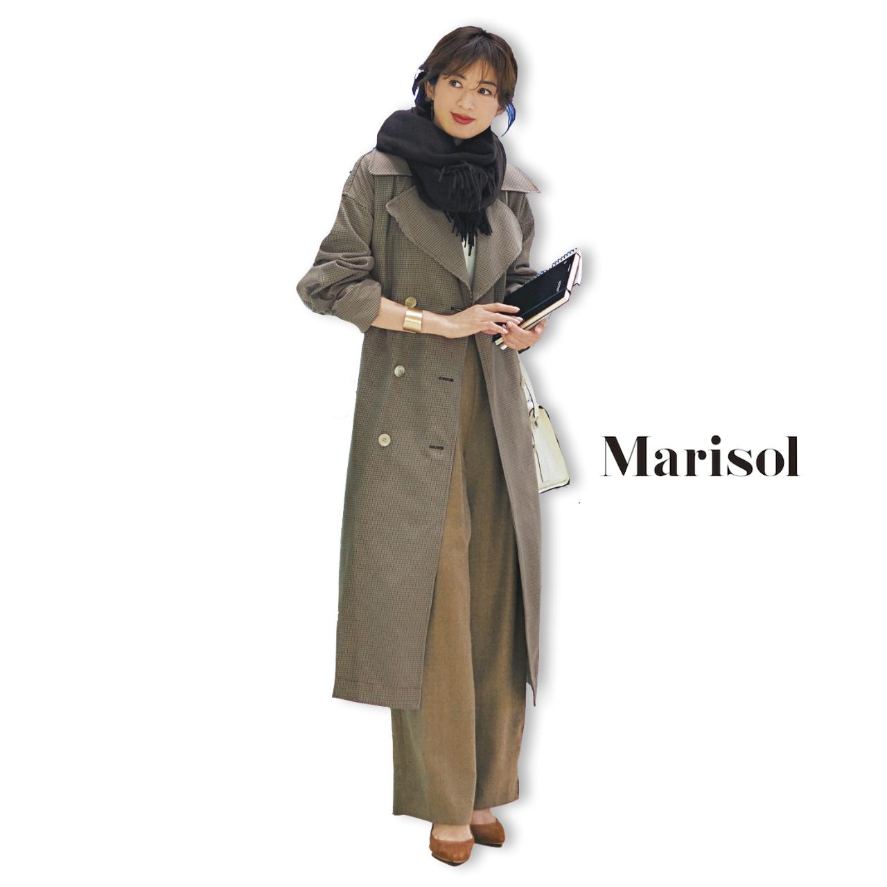 40代ファッション チェック柄トレンチコート×ワイドパンツコーデ