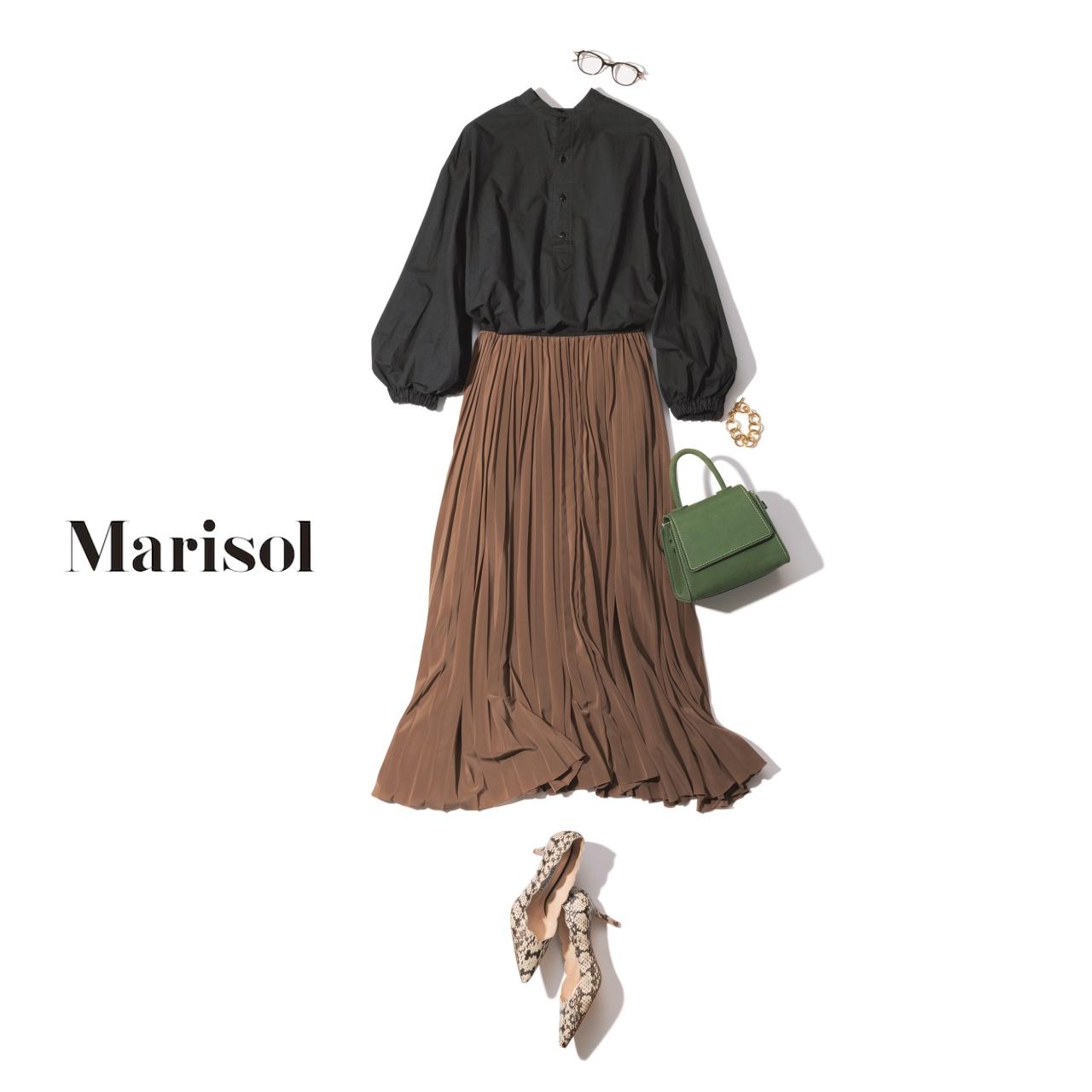 40代ファッション パフスリーブプルオーバー×プリーツスカートコーデ