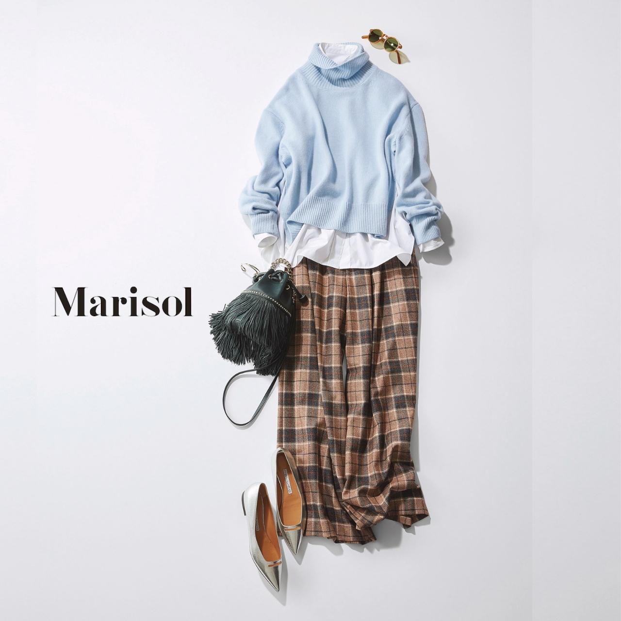 40代ファッション ニット×白シャツ×チェックパンツコーデ