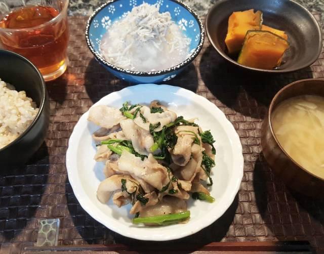 ■火曜日の豚バラとクレソン炒め定食