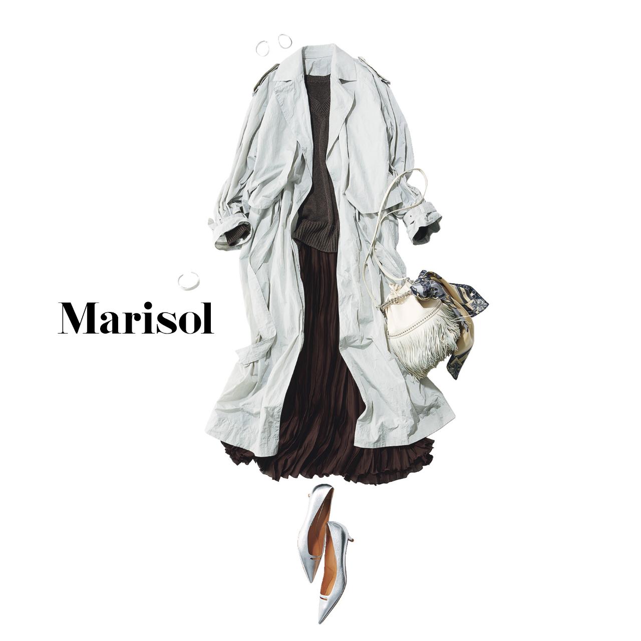 40代ファッション  トレンチコート×ニット×プリーツスカートコーデ