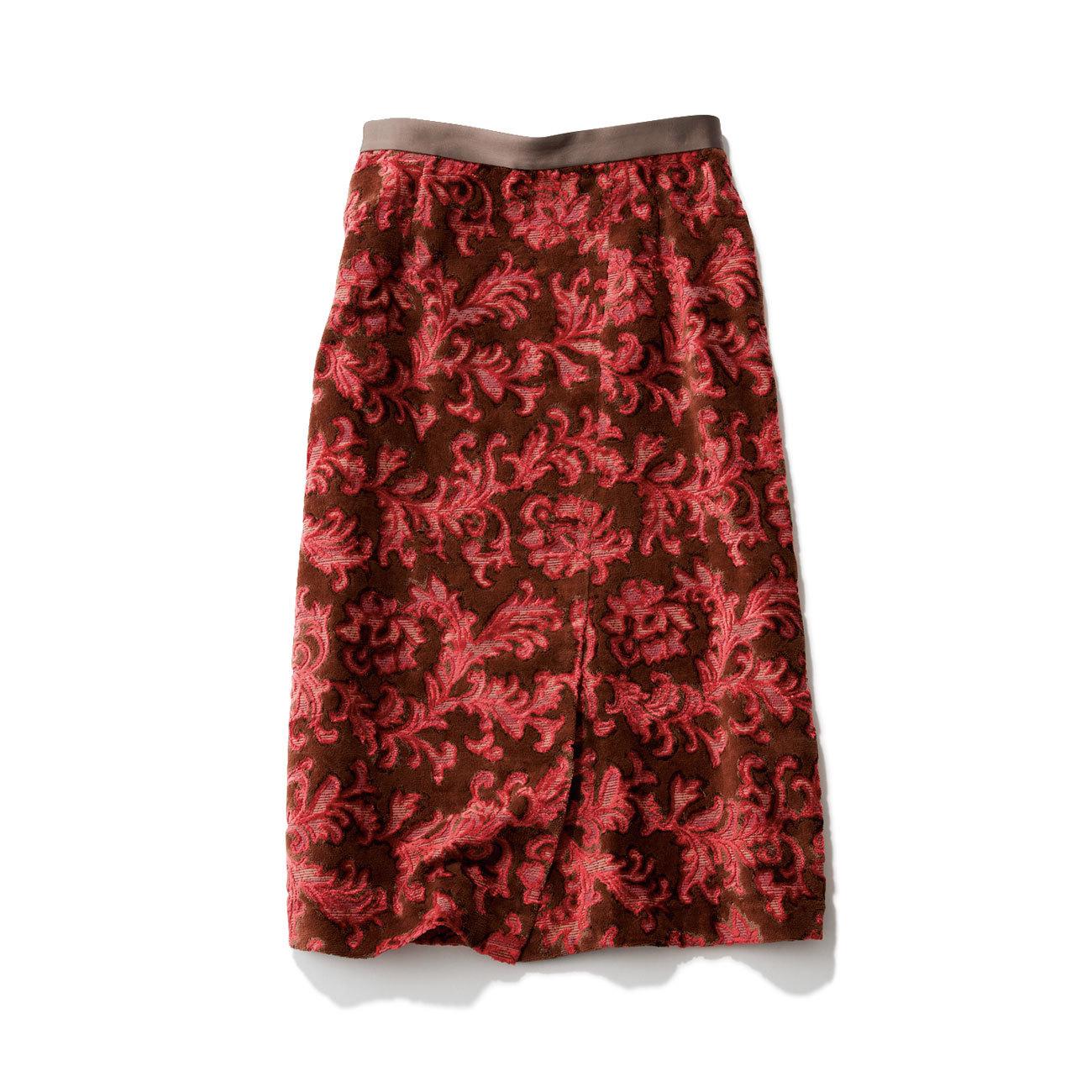アッシュ・スタンダードのブラウン×ピンクタイトスカート