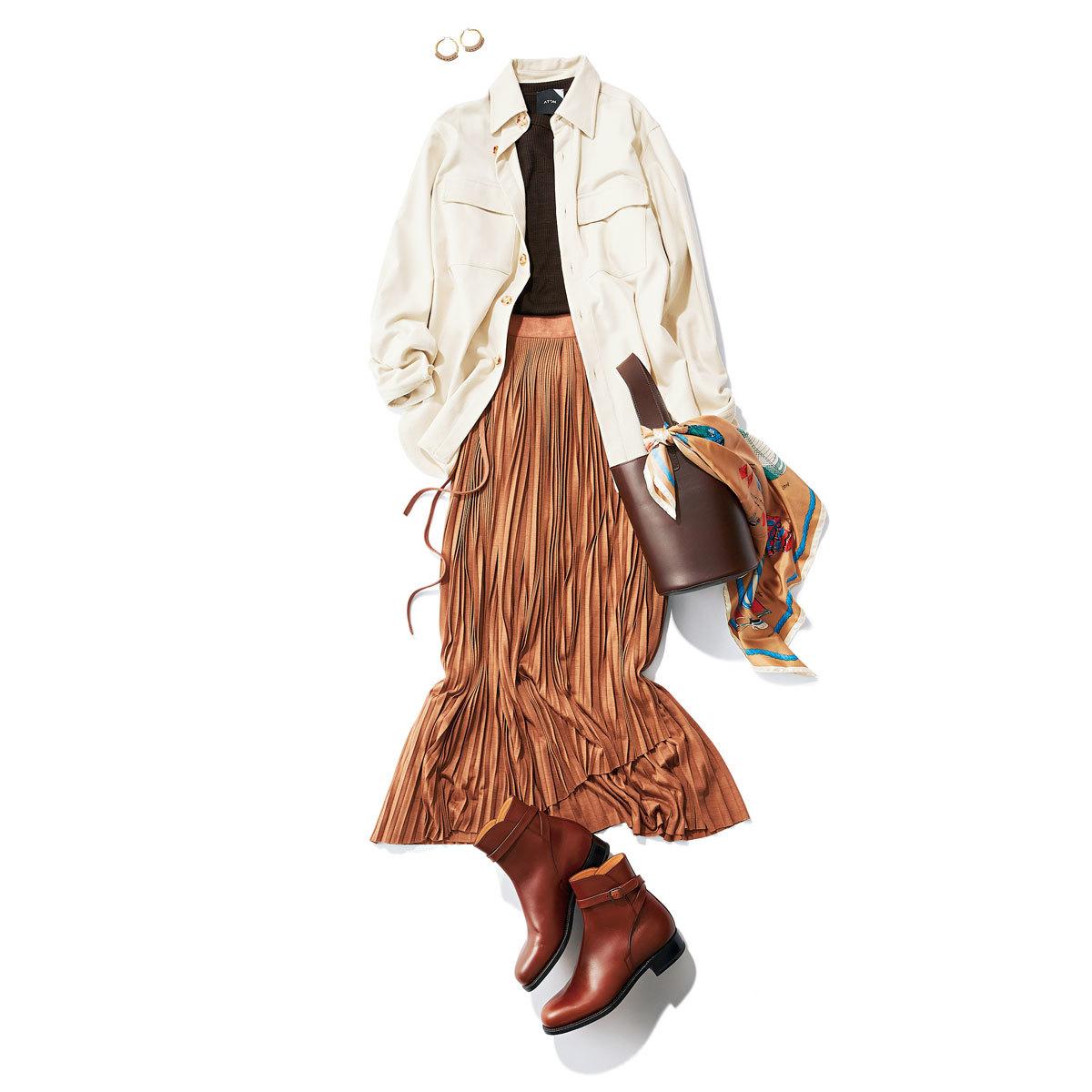 プリーツスカート×CPOジャケット