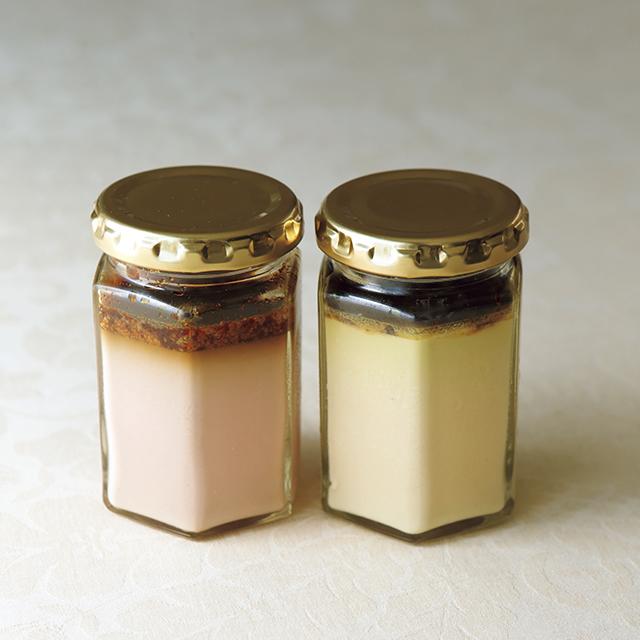 (左)「白 レバープリン」¥1,200・(右)「フォワグラのフラン・ヴァ ンコット風味」¥1,600(すべて税込)