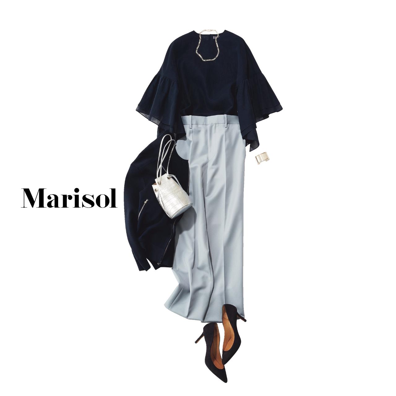 40代ファッション ボリューム袖ブラウス×パンツ×ブルゾン コーデ