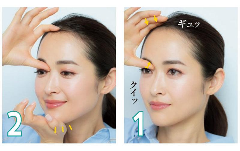 眉頭のくぼみに親指を引っかけ、人さし指で頭の骨を押さえて固定する(1)。反対の手のひらのつけ根をあごに当て(2)、人さし指と中指で鼻の一番低い部分をはさむ(3)。