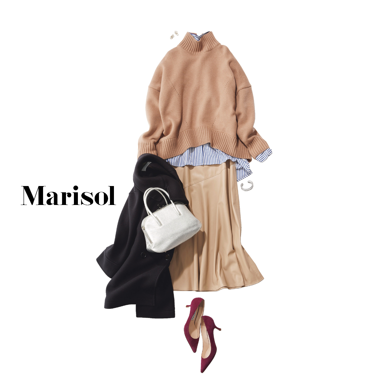 40代ファッション  シャツ×ニット×スカートコーデ