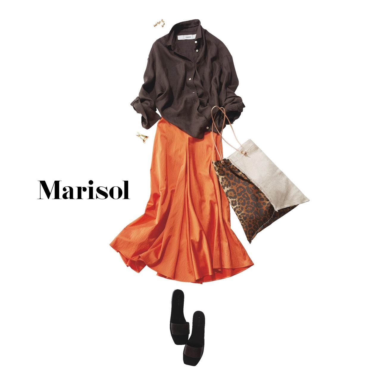 40代ファッションブラウンシャツ×rオレンジスカートコーデ