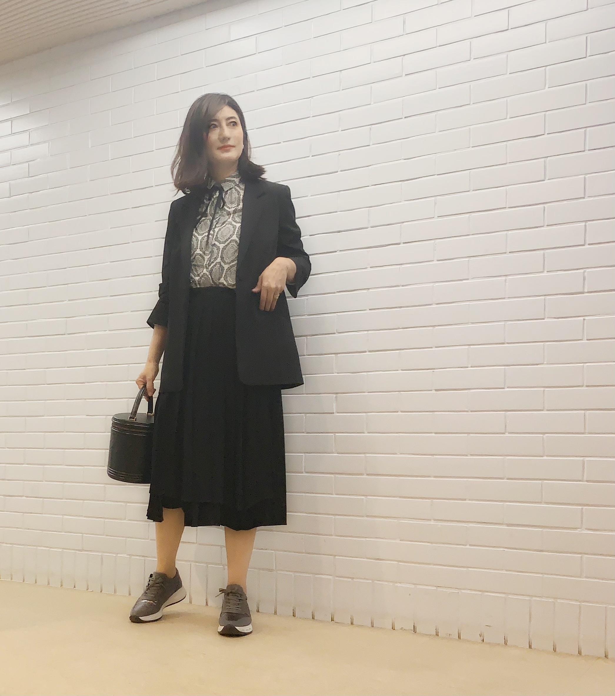 zaraの柄シャツに黒スカート&パンツコーデ_1_1
