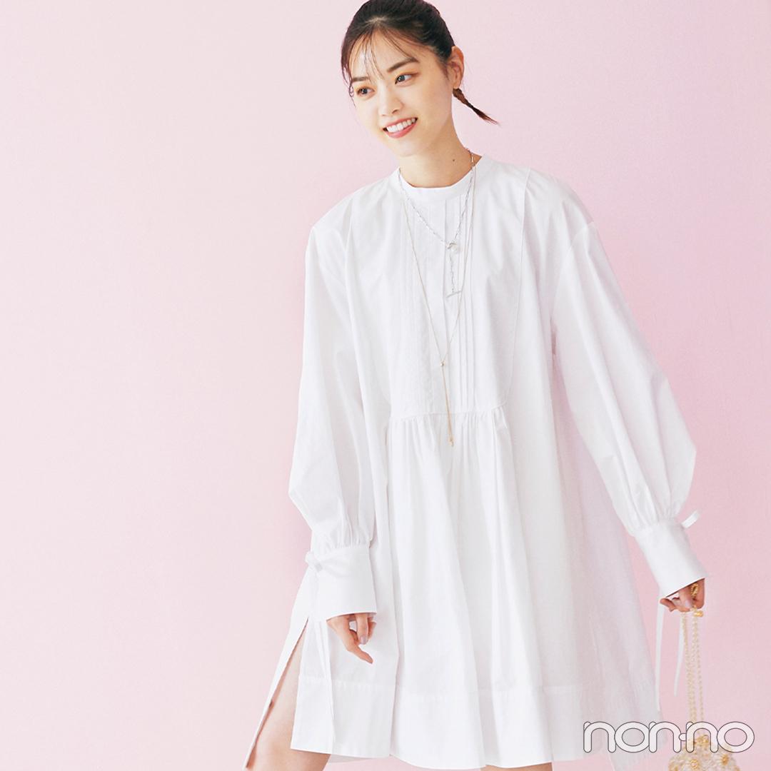 西野七瀬はトレンドのミニワンピを白で清潔感たっぷりに【毎日コーデ】