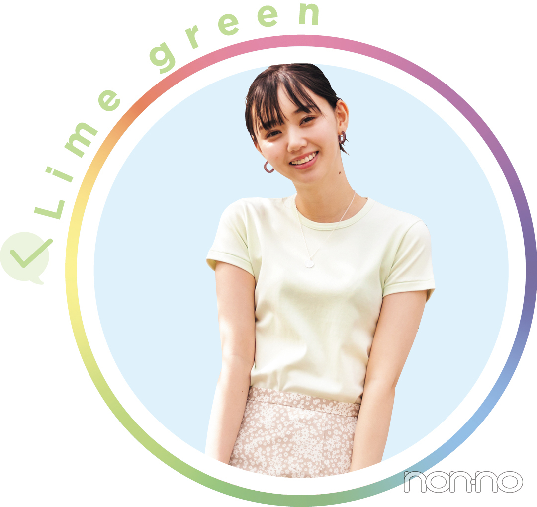 江野沢愛美が着るLime greenのTシャツコーデ8