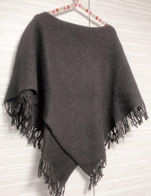 短めリプ編みポンチョ