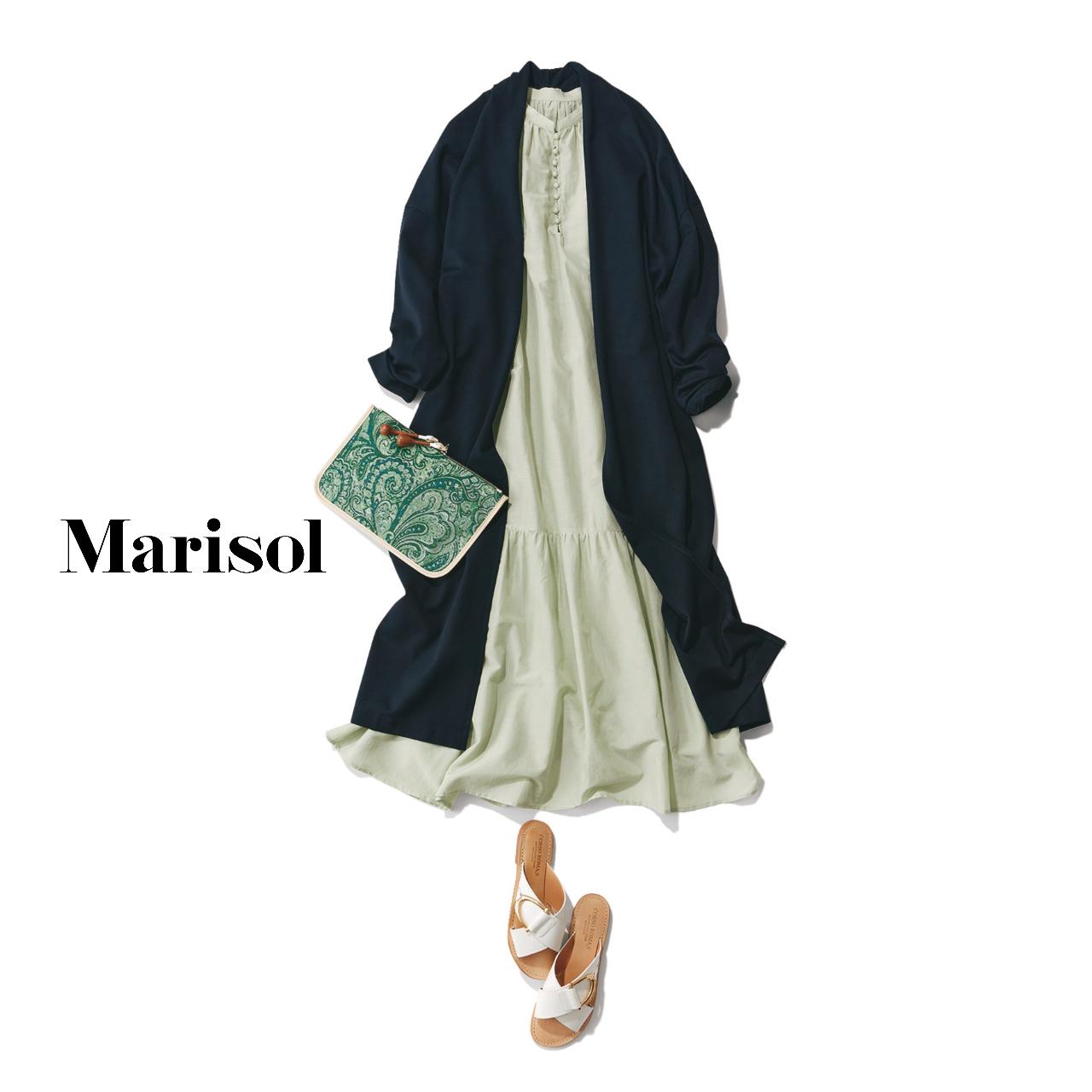 40代ファッション  ワンピース×ロングカーディガンコーデ