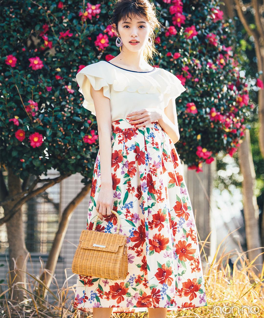 ドラマティックな花柄スカートを主役に♡ 春のデートコーデにもぴったり!【毎日コーデ】