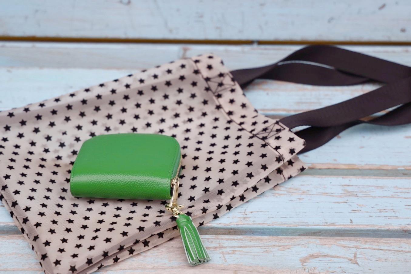 【水晶玉子さんコラボ】星柄A4トートバッグ付き二つ折り財布