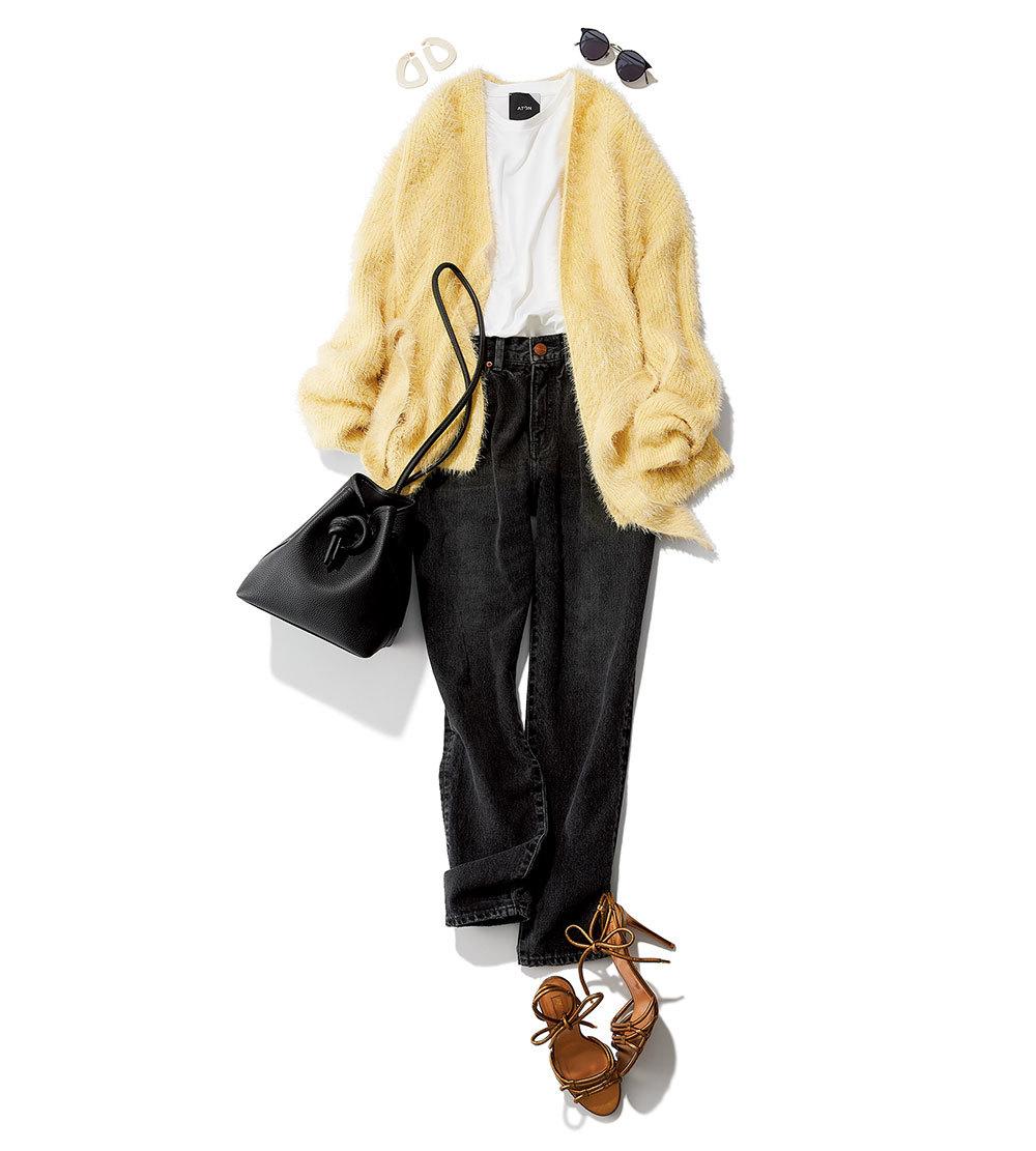 ファッション イエローのシャギーニット×デニムコーデ