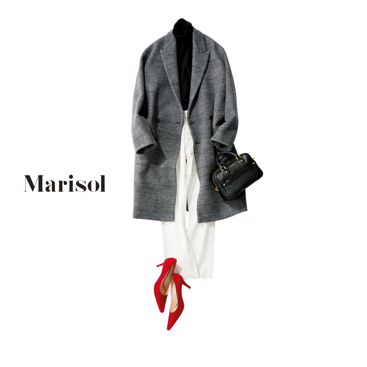 40代ファッション チェック柄のチェスターコート×白デニムコーデ