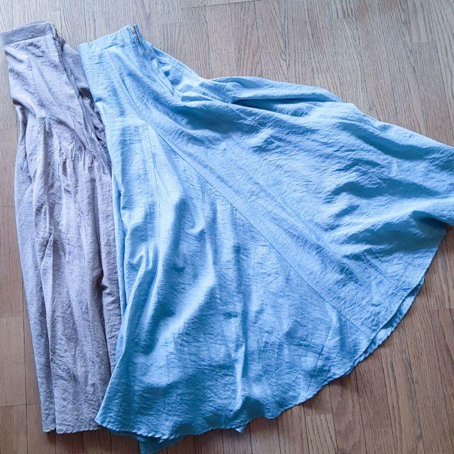 meriフレアマキシスカートのカラバリ ブルー