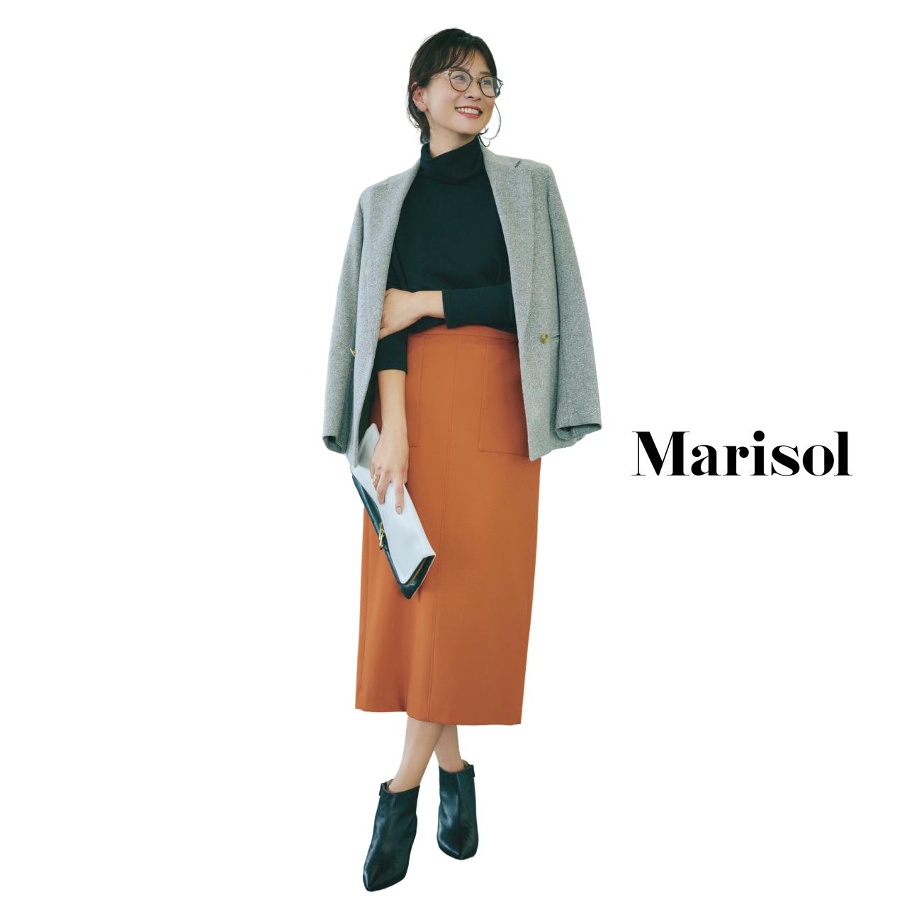 40代ファッション 肩がけジャケット×プルオーバー×タイトスカートコーデ