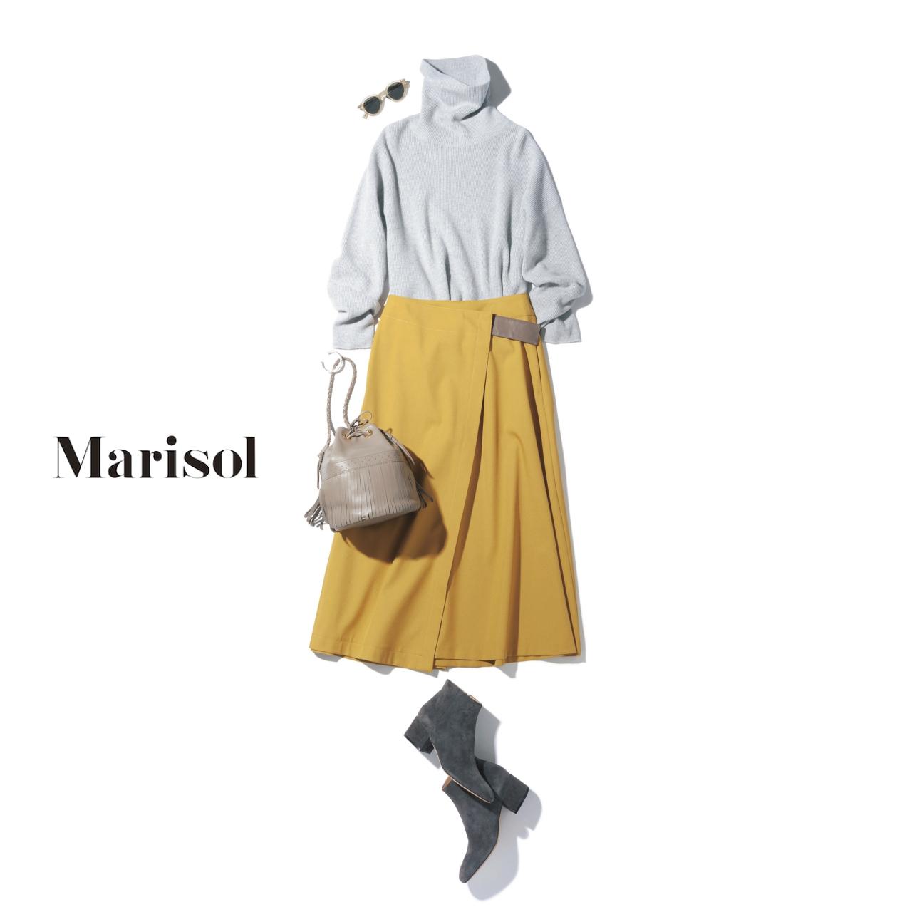 イエロースカート×白ニットのファッションコーデ