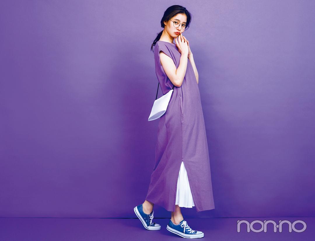 新木優子の夏色コーデ、新鮮パープルを今っぽ&きれいめに着る!_1_4