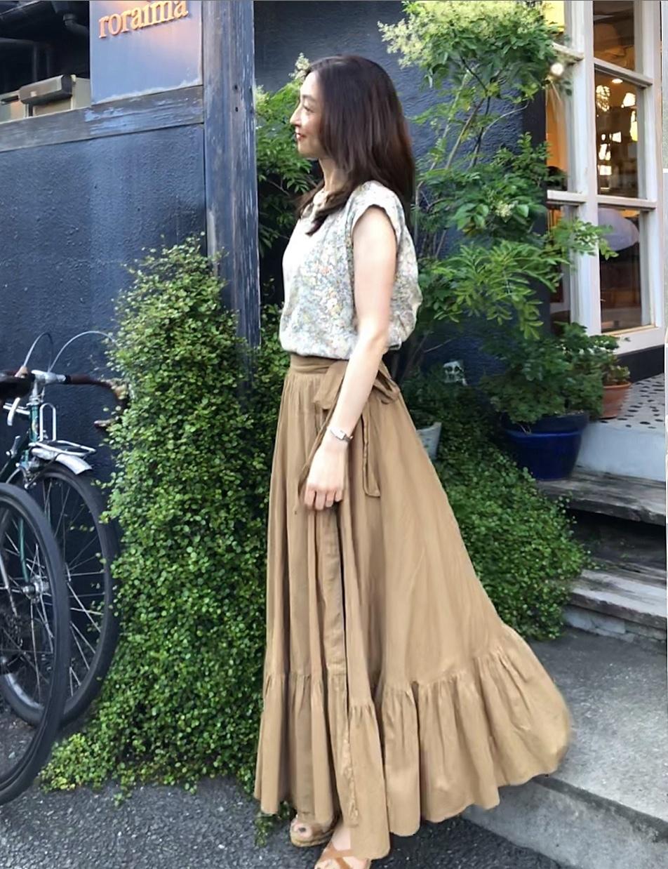 ティアード風リボンラップスカート