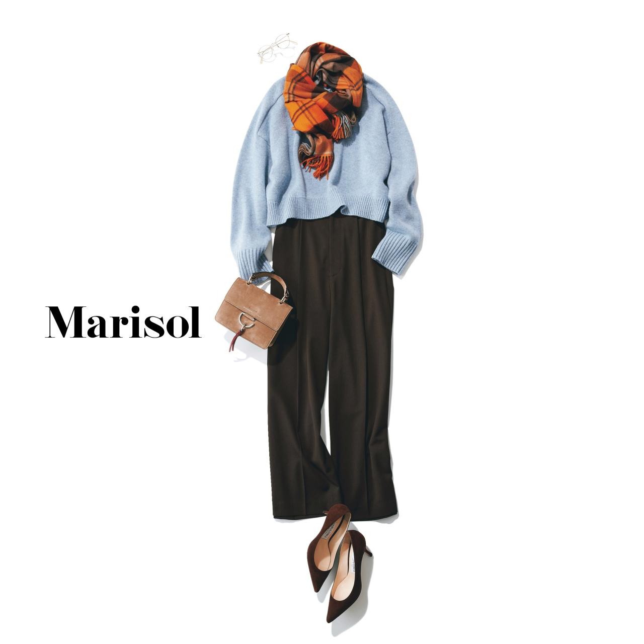 40代ファッション ニット×パンツ×ストールコーデ