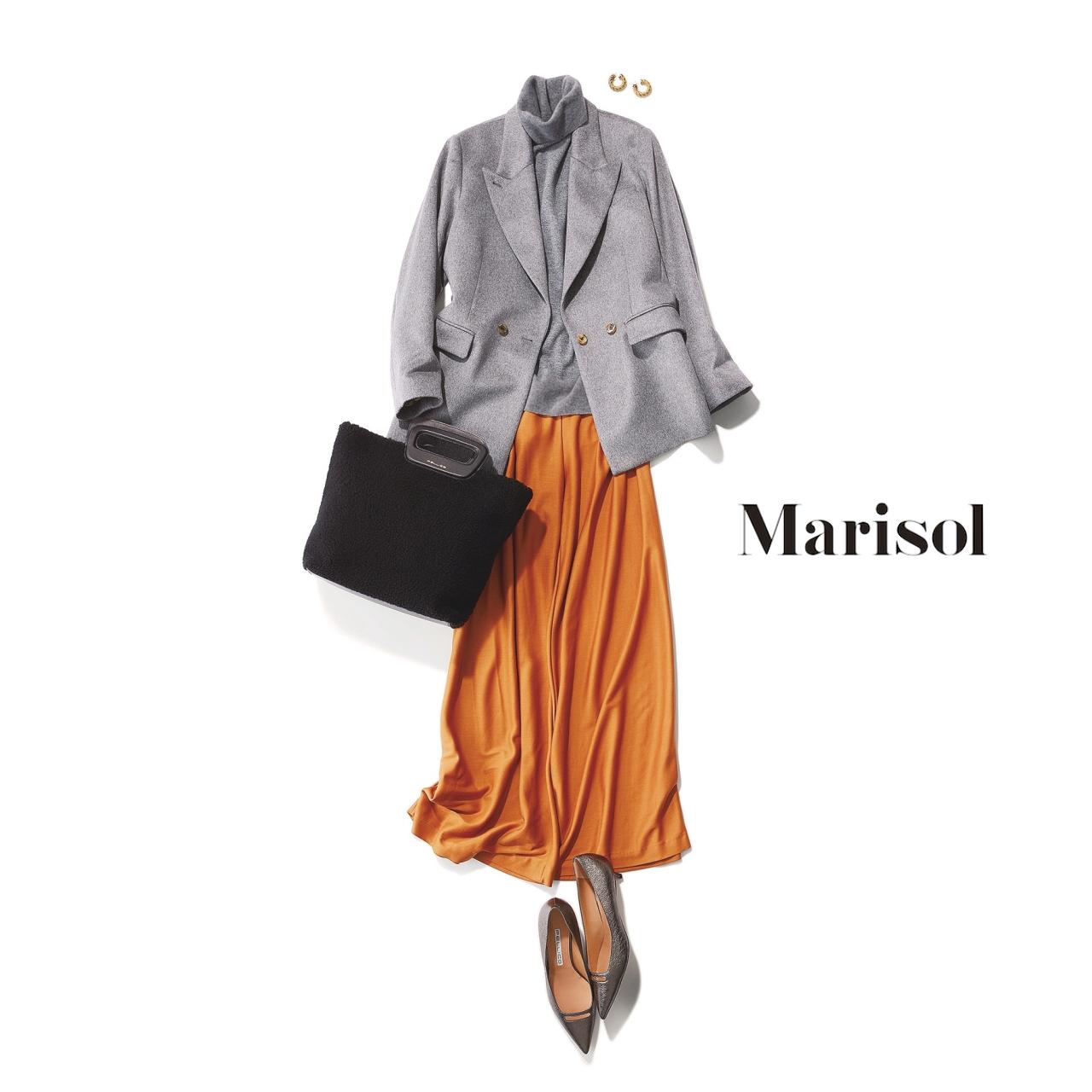 40代ファッション グレージャケット×オレンジパンツコーデ