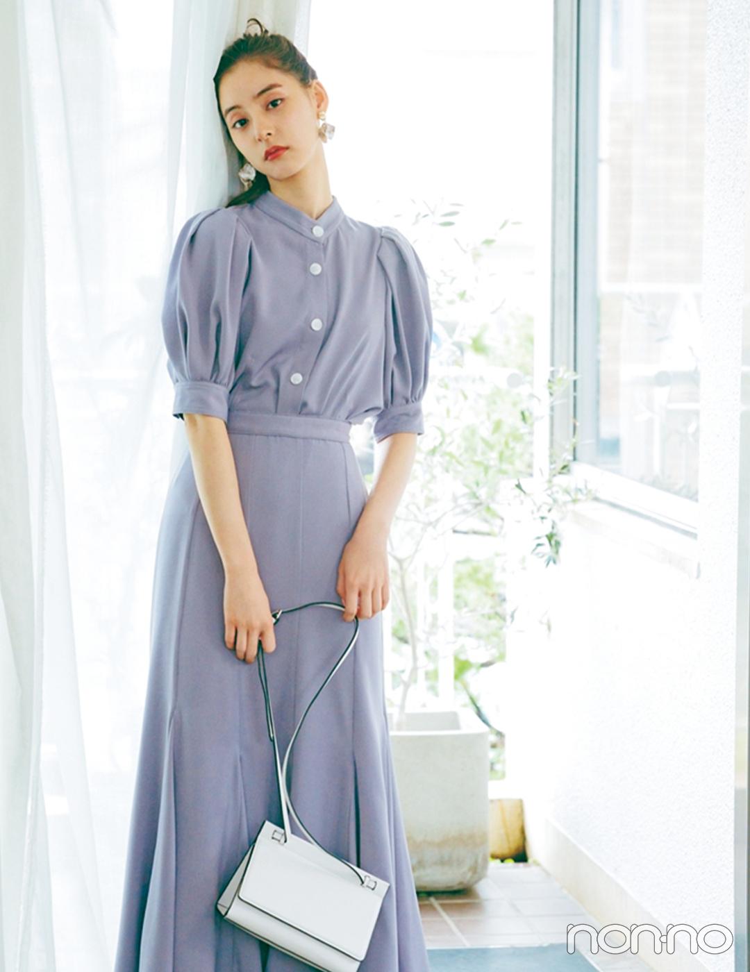新木優子×新しいこと始まる秋服。「シックなパープルで季節をスイッチ」