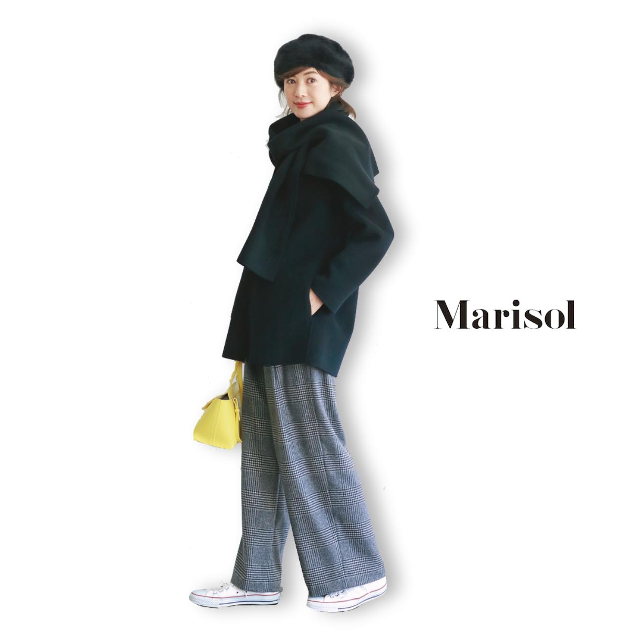 40代ファッション ストール付きコート×グレンチェックパンツコーデ