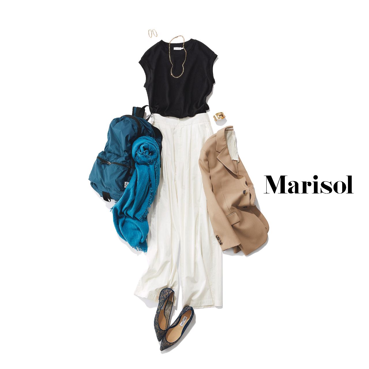 40代ファッション  黒カットソー×白スカート×ベージュジャケット コーデ