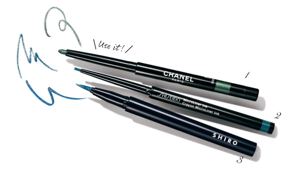 スティロ ユー ウォータープルーフ N 46¥3,520/シャネル 、マイクロライナーインク 08¥3,850/SHISEIDO、カレンデュラアイライナーリキッド 1D04¥3,850(限定発売)/SHIRO