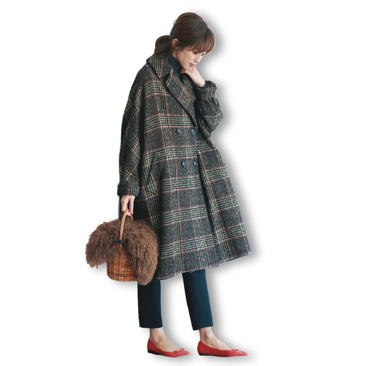 チェック柄コート×パンツのファッションコーデ