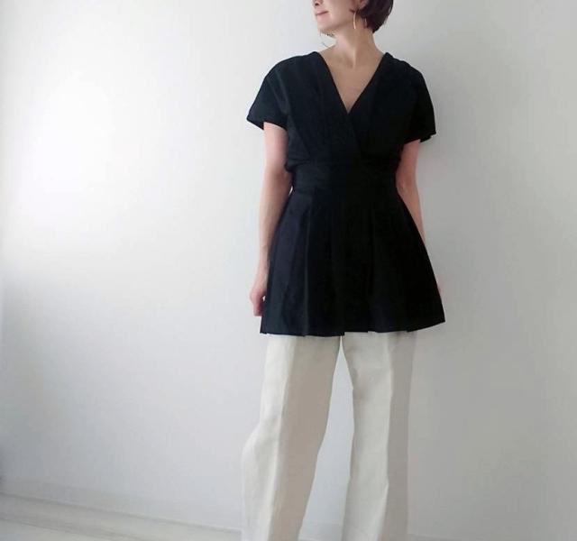 【ZARA】ブラックシャツで魅せる40代夏のモノトーンコーデ_1_7