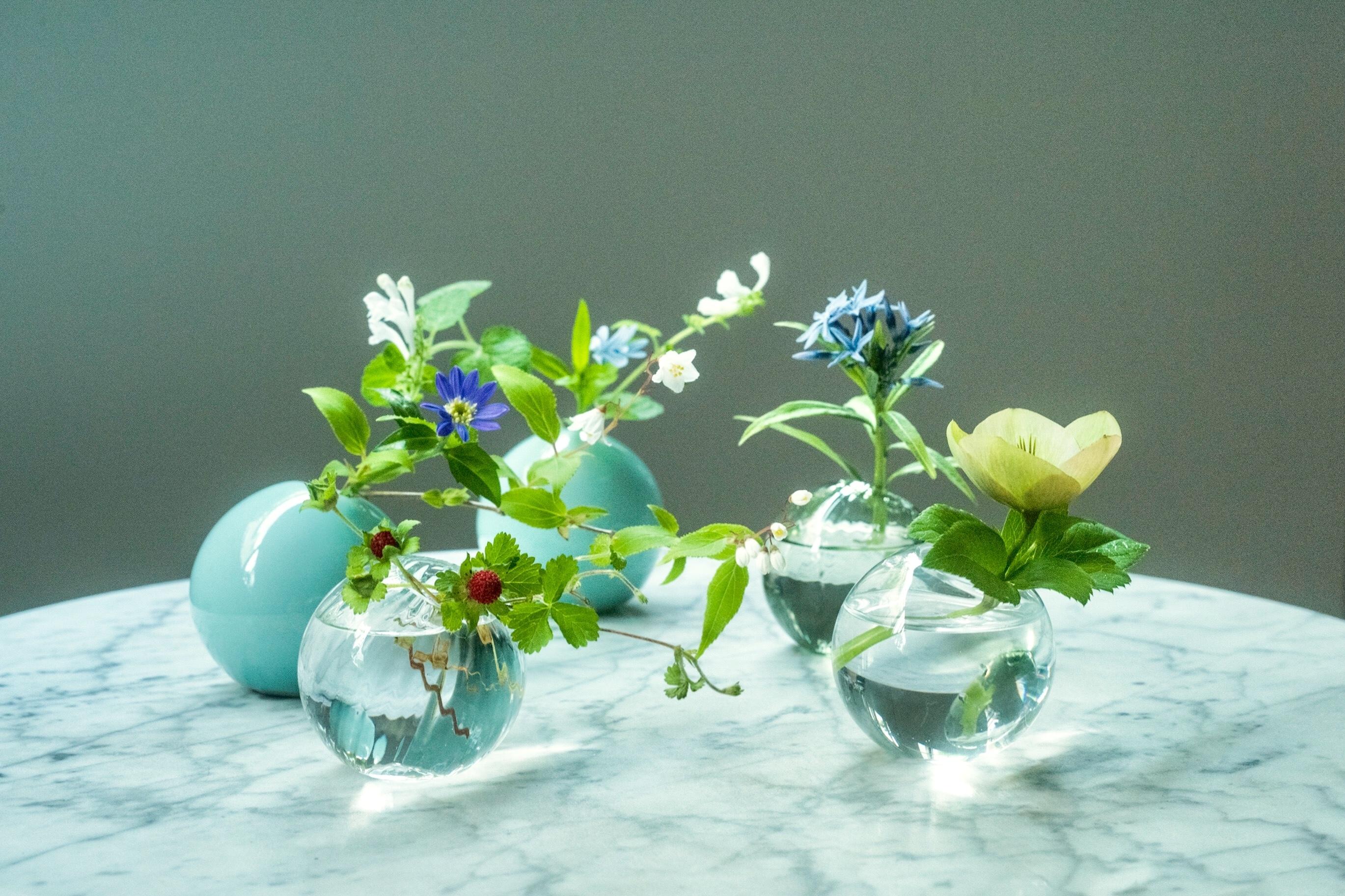 青磁とガラスの涼やかな組み合わせの花器