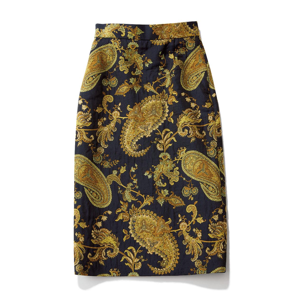 レリ タージュ マルティニークのネイビーペイズリー柄スカート