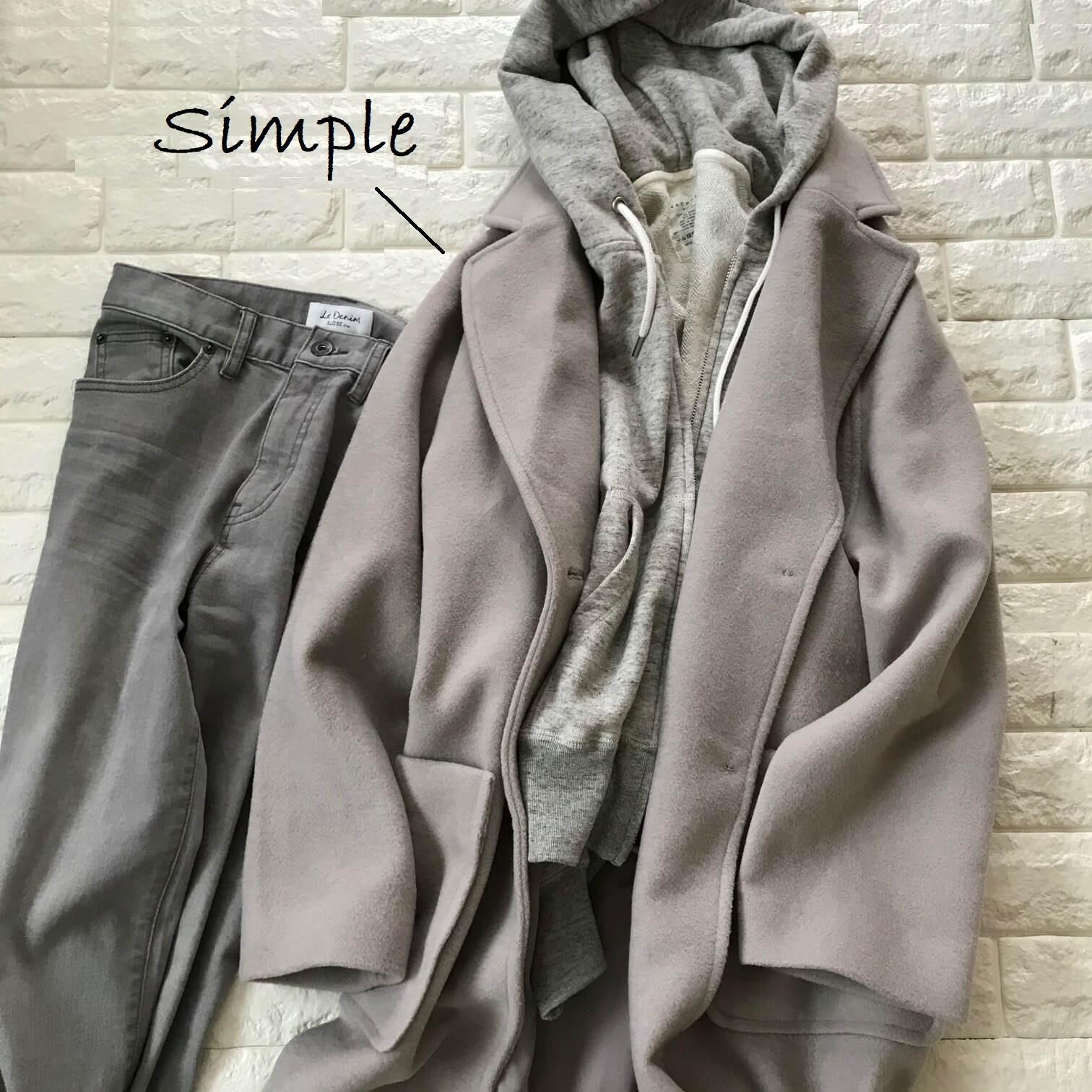 ミラオーウェンの福袋コートをグレーで合わせた画像