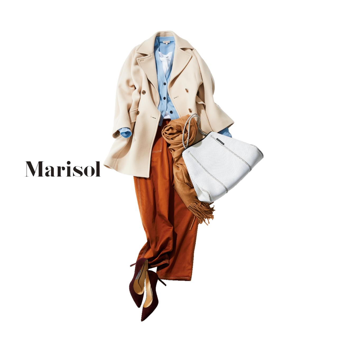 40代ファッション ショート丈コート×ブラウンパンツコーデ