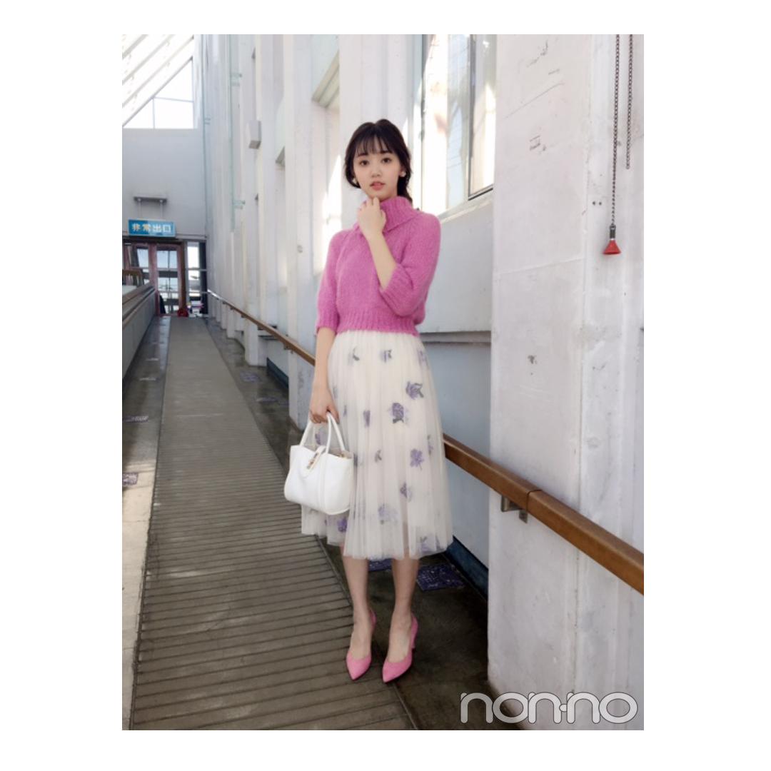 江野沢愛美は花柄チュールスカートで春を先取り!【毎日コーデ】_1_1
