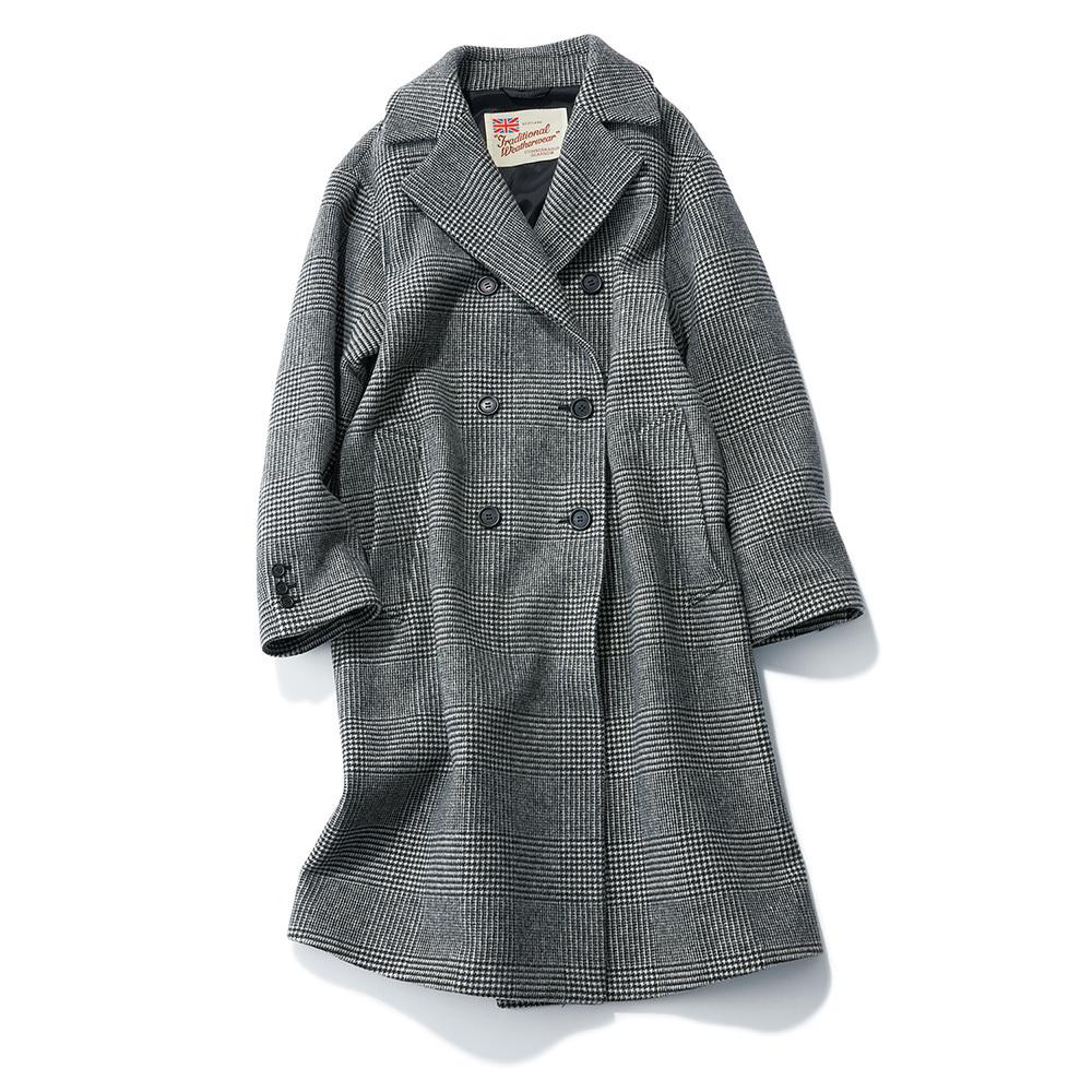 グレーのチェック柄コート