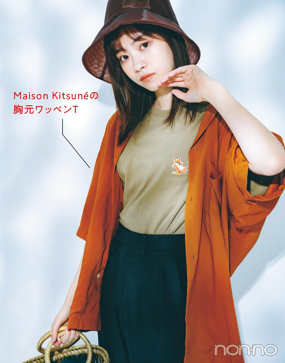 Maison Kitsunéの胸元ワッペンT