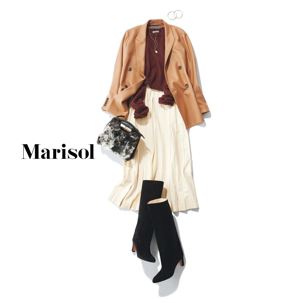 40代ファッション ニット×ジャケット×スカート×ロングブーツコーデ